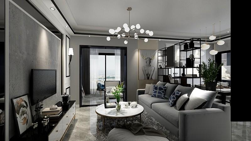 12万83平米现代三房装修效果图,黑白灰装修案例效果图