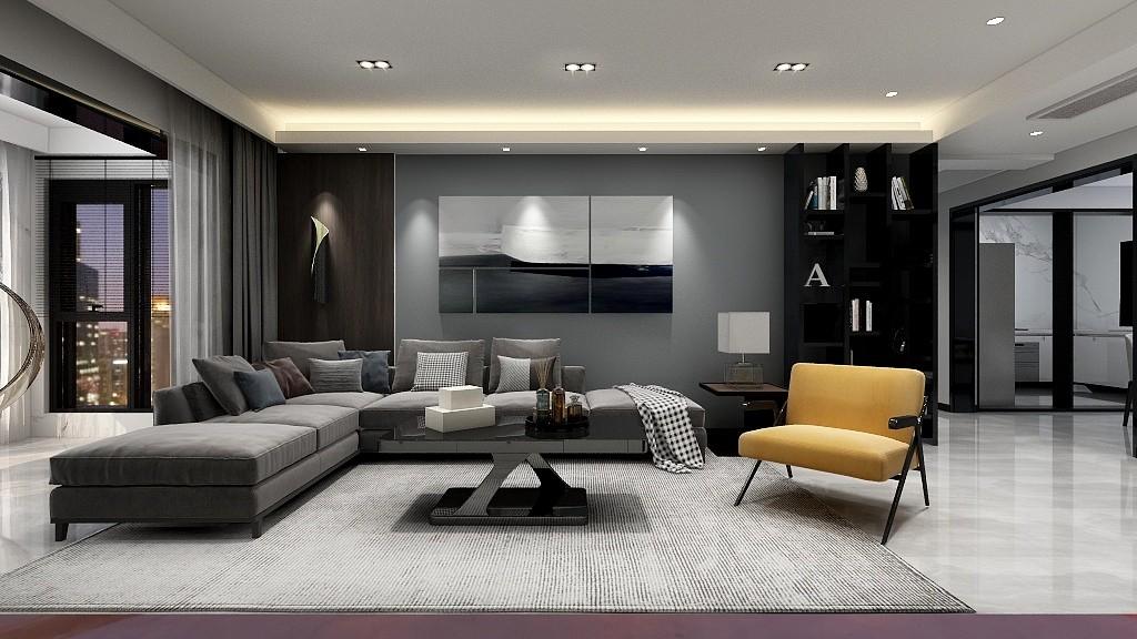 120㎡二居室現代黑白灰