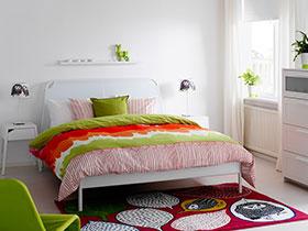 清新宜家风 22张彩色卧室床图片