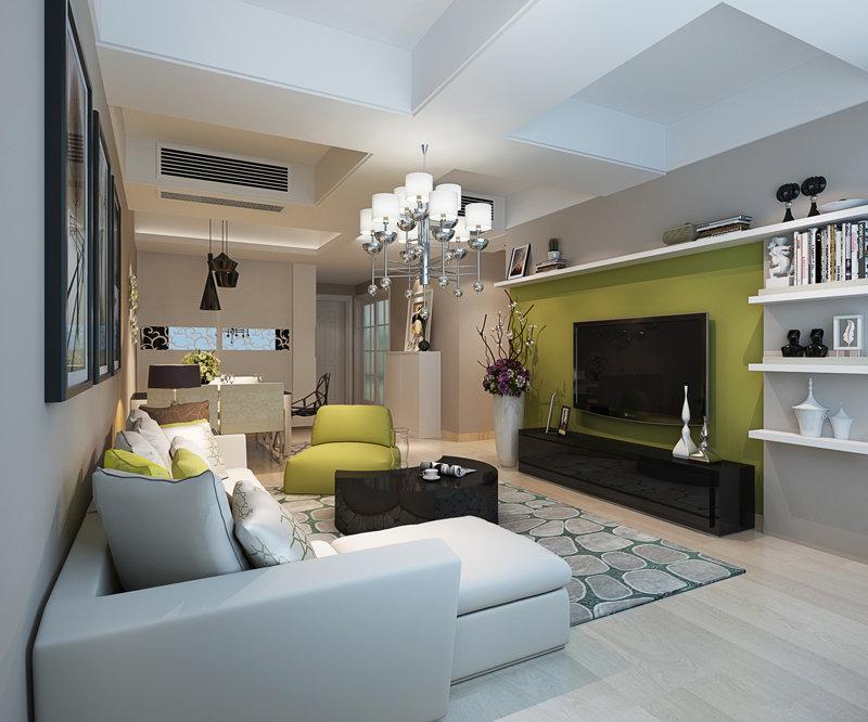 三居室效果图_5-10万110㎡简约三居室装修效果图,现代混搭风三房两厅装修案例 ...