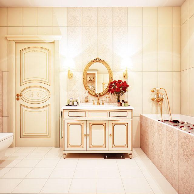 粉色浴室柜效果图