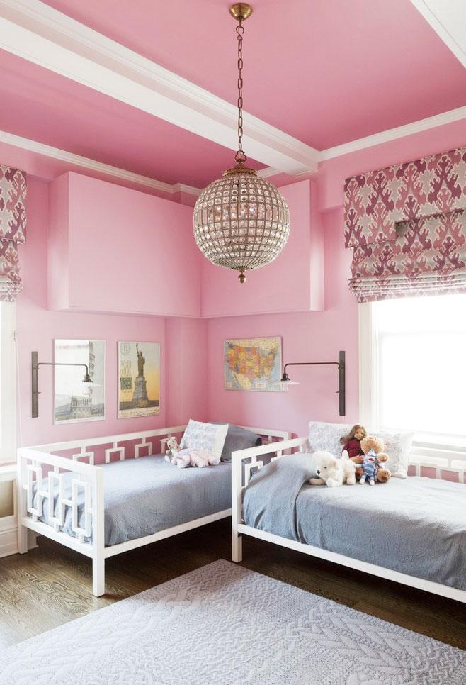 粉色吊顶效果图