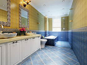 14张狭长型浴室柜设计图 感受地中海风