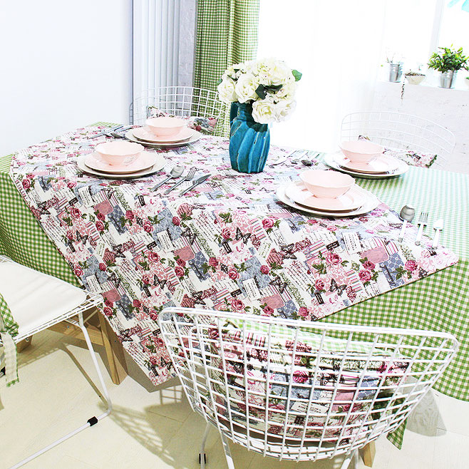 绿色餐桌布效果图