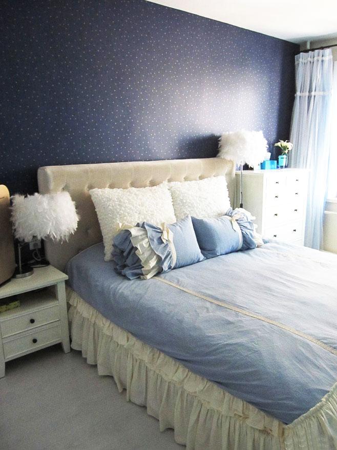 白色布艺床设计图