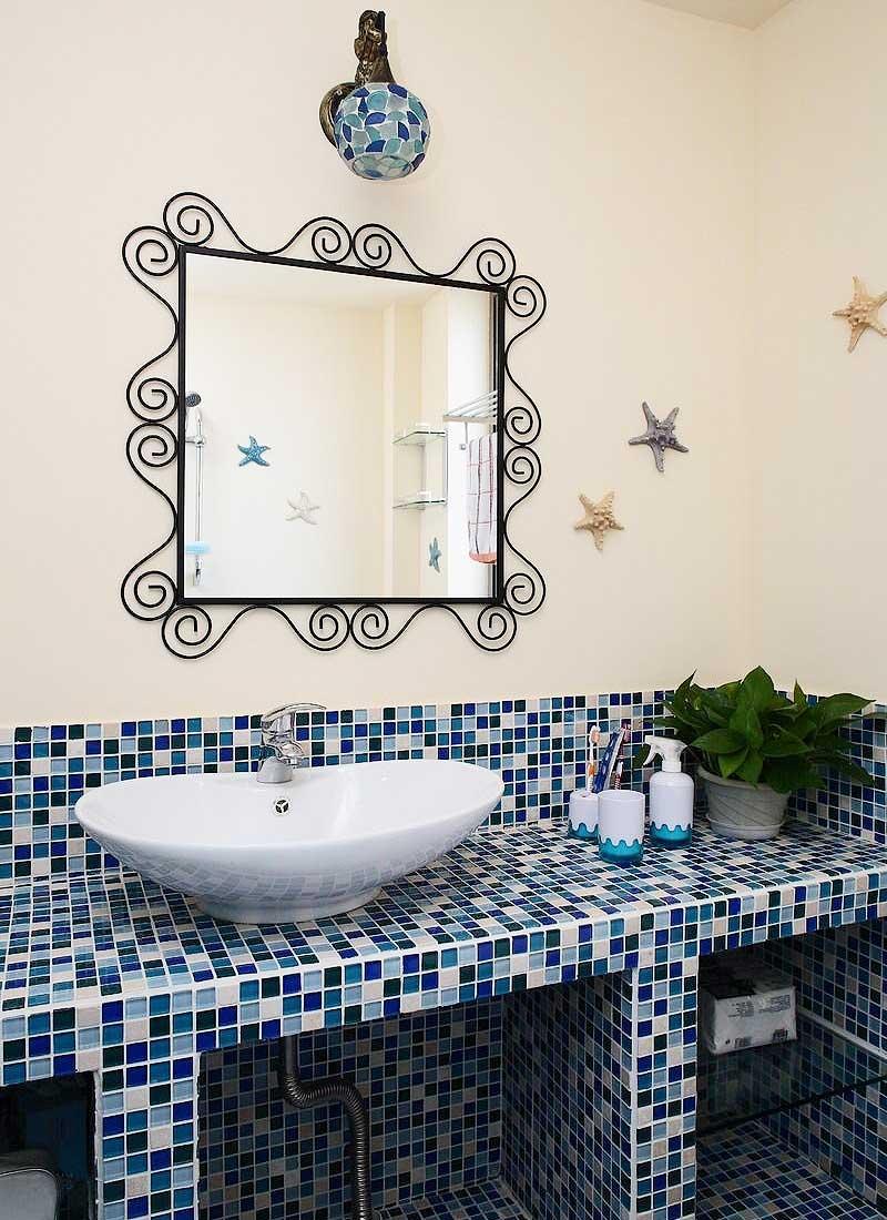 蓝色洗手台效果图