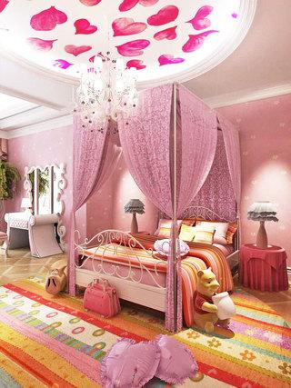 粉色儿童房吊顶设计图