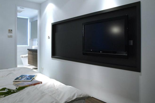 黑白卧室电视背景墙效果图