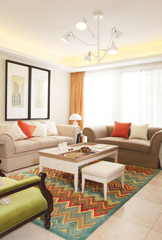 彩色客厅地毯效果图