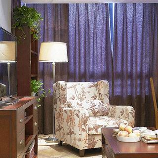 美式风格二居室蓝色60平米效果图