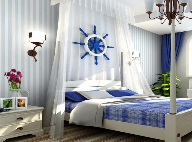 蓝色卧室效果图