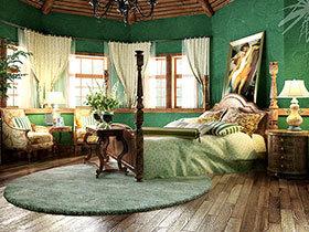 卧室优雅系 10个绿色复古卧室