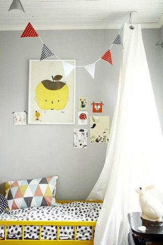 灰色黄色儿童房效果图