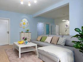 清爽水蓝色地中海风情 柔和色调二居室