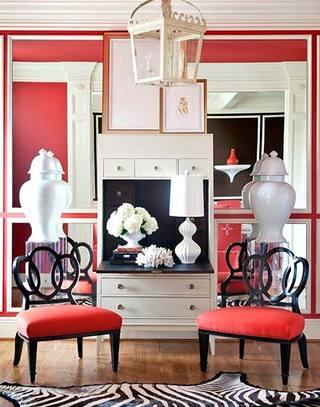 简约红色小客厅背景墙图片