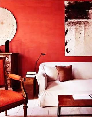复古红色沙发背景墙