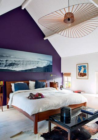 紫色卧室背景墙装修图片