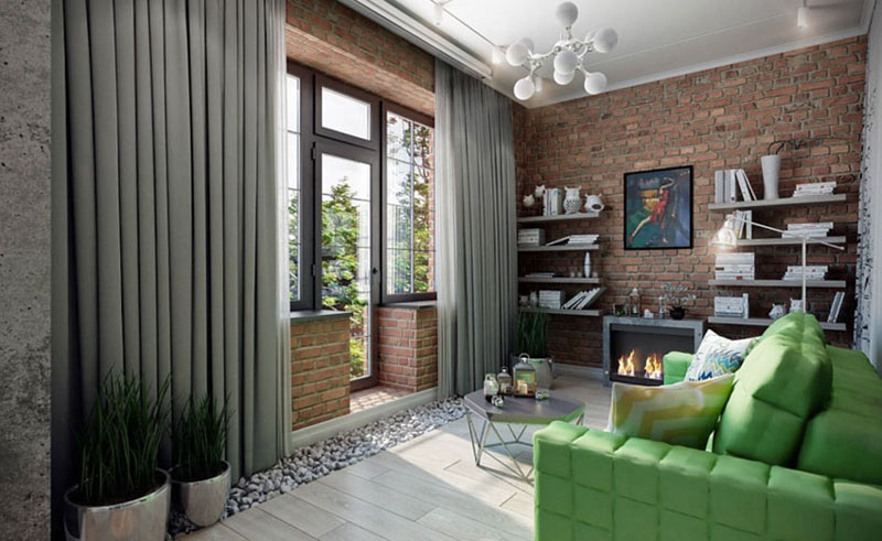 loft风格客厅吊顶装修效果图
