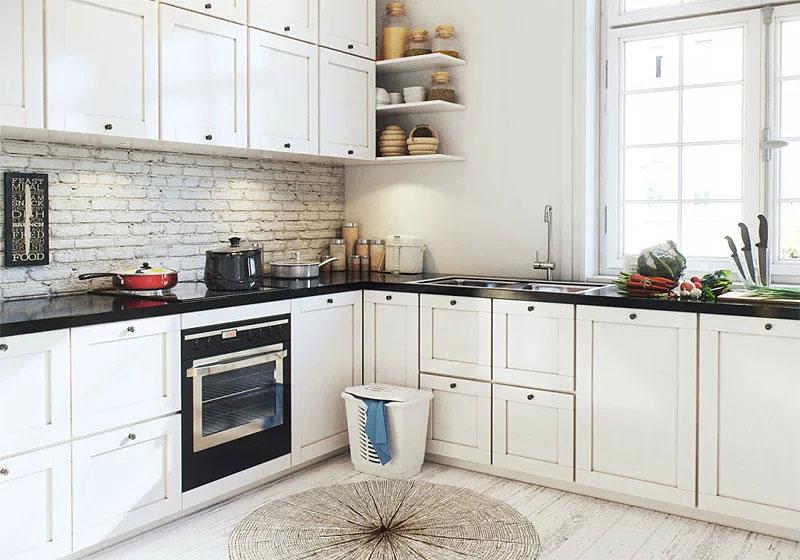 北欧风格白色厨房橱柜装修效果图
