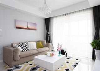 简洁大气客厅窗帘效果图