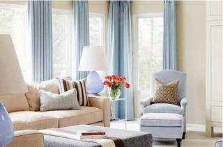 浅蓝色客厅设计平面图