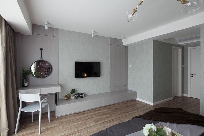 简约质感卧室电视背景墙设计图