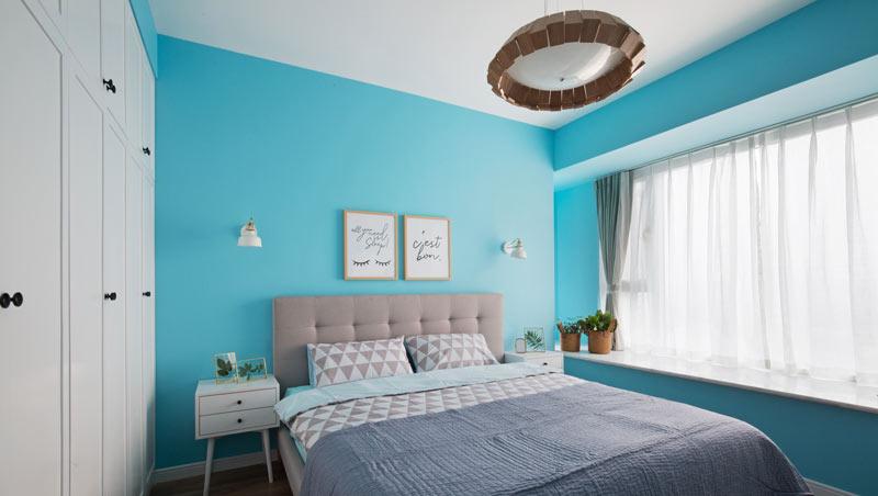 浅蓝色北欧风情卧室装修设计