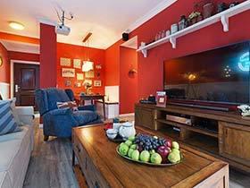 60㎡两居室装修效果图  美式红色小剧场