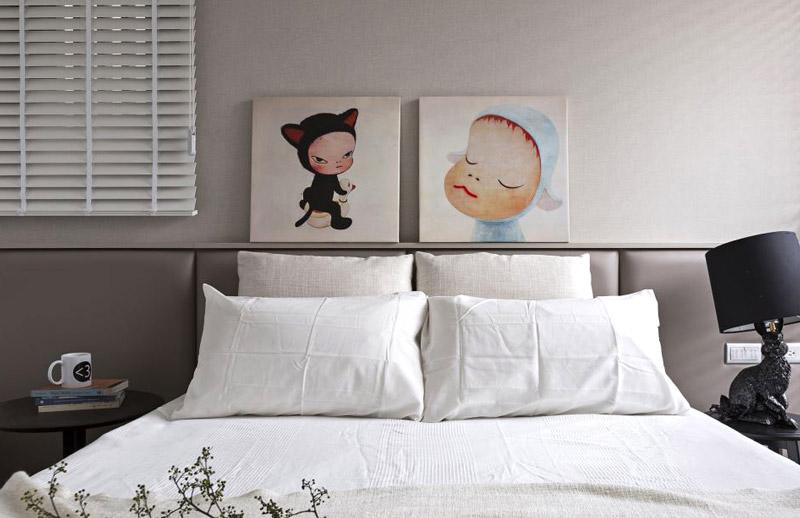 北欧风格卧室 床头卡通装饰画设计