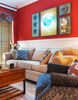 红色美式客厅背景墙设计