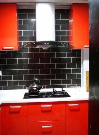 红色系厨房台面设计图