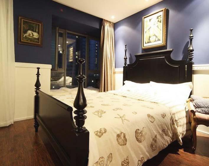 美式混搭卧室 深紫色背景墙效果图
