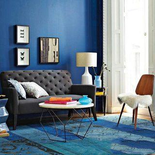 蓝色系客厅落地灯图片