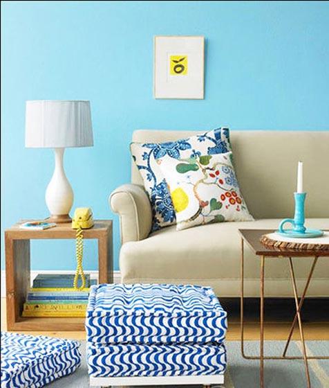 蓝色客厅装修布置效果图