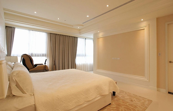 优雅简约风卧室背景墙效果图