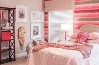 粉色系卧室摆放图片