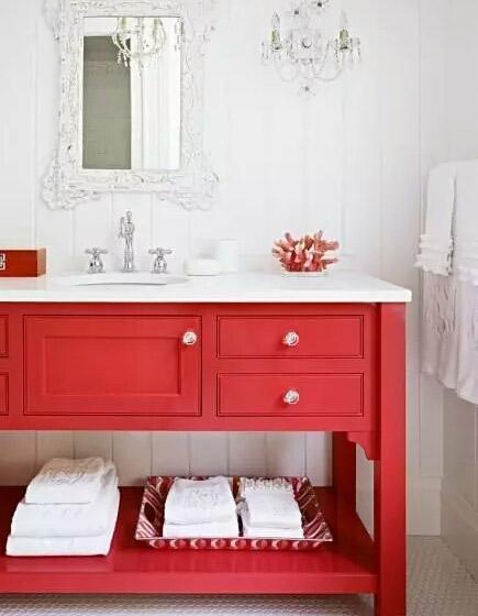 红色卫生间浴室柜效果图