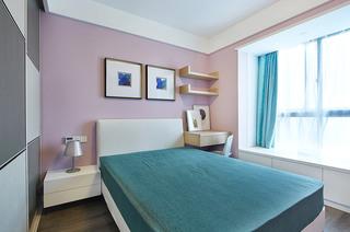 唯美淡紫色简约风卧室背景墙设计