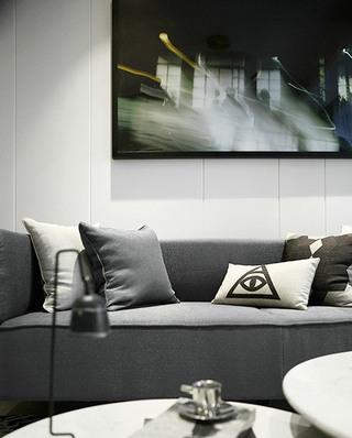 深灰色简约风布艺沙发图片