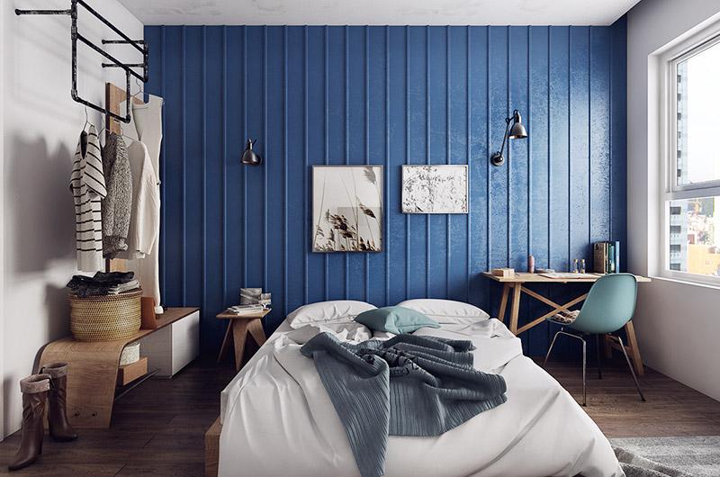混搭风卧室 海蓝色背景墙设计
