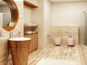 原始的距离   10个原木色浴室装修实景图