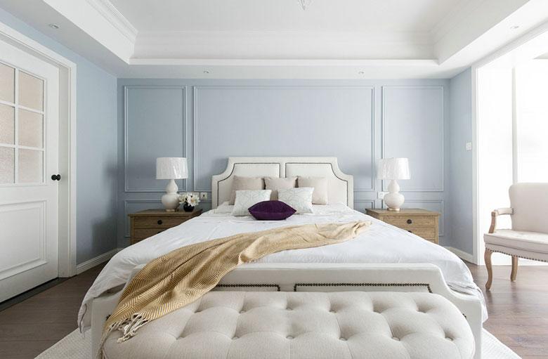 优雅灰蓝色简美风情卧室效果图