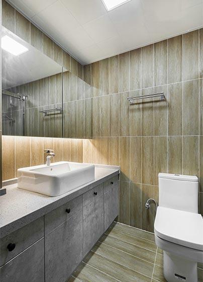 宜家风洗手间原木色瓷砖设计