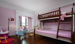 甜蜜粉色美式儿童房设计