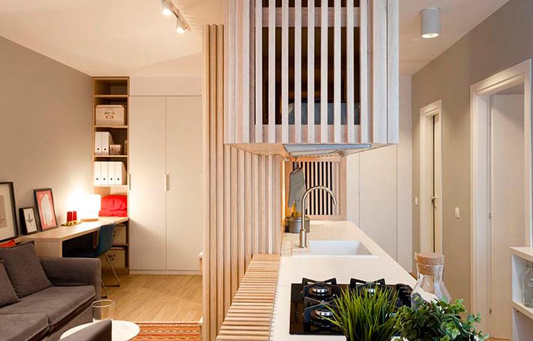 45平日式风格公寓客厅厨房隔断图