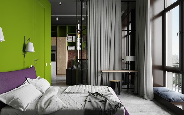 北欧混搭风卧室灰色窗帘效果图