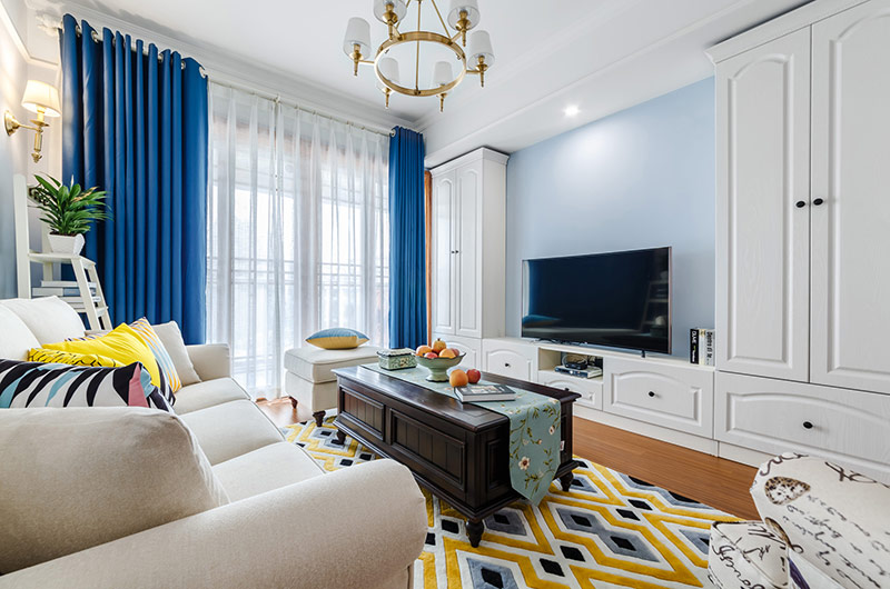 蓝色美式客厅电视墙效果图