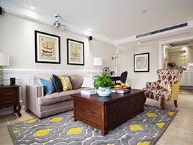 135㎡美式三居室装修效果图  平衡之美