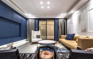 蓝色后现代风 客厅样板间设计