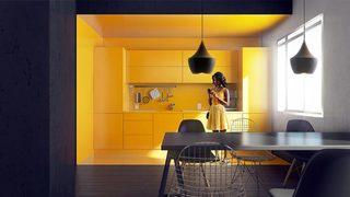 亮黄色厨房设计实景图